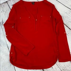 UEC Red Guess 100% rayon blouse, 3/4 length sleeve